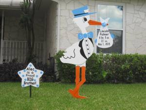 Marshall, TX Storks Sign Rentals ~ Longview, TX ~ the Little Ruffled Stork ~ Tyler, TX