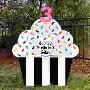 cupcake sign, celebration, birthday, graduation, anniversary