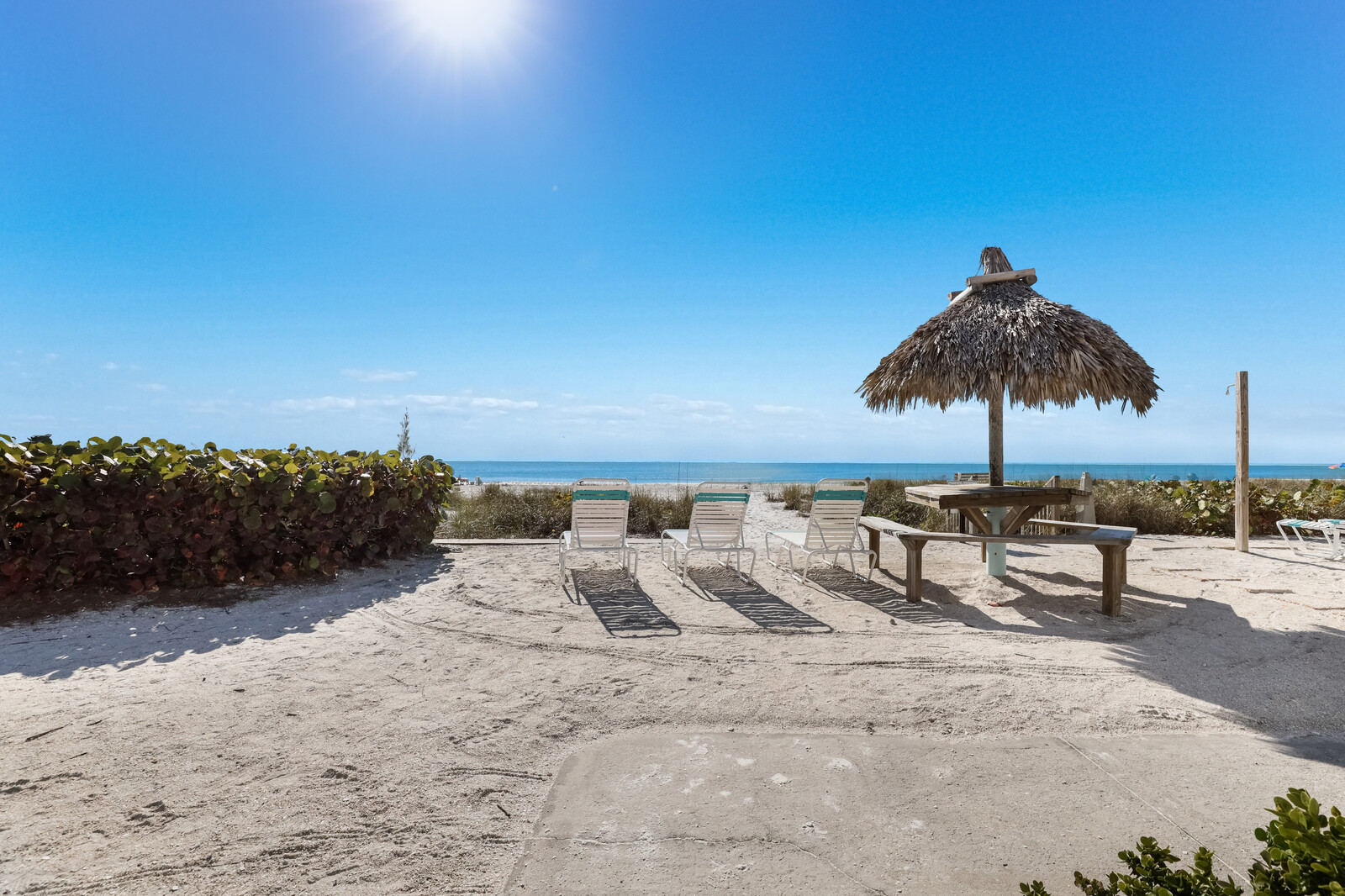 Beach access with loungers
