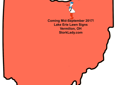 Vermilion, OH Stork Lawn Sign Rentals Coming September 2017 ~ Lake Erie Lawn Signs
