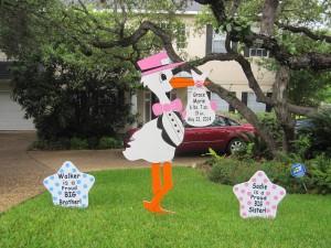 stork sign, baby, yard