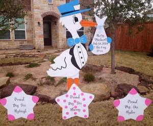 stork sign, yard, baby