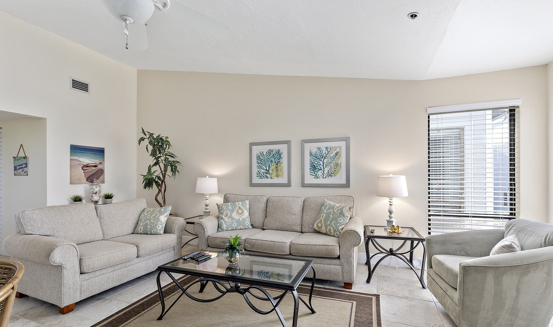 Comfortable living room with plenty of s