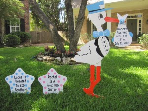 stork, yard, sign