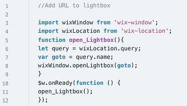 Example Wix Code Lightbox with URL