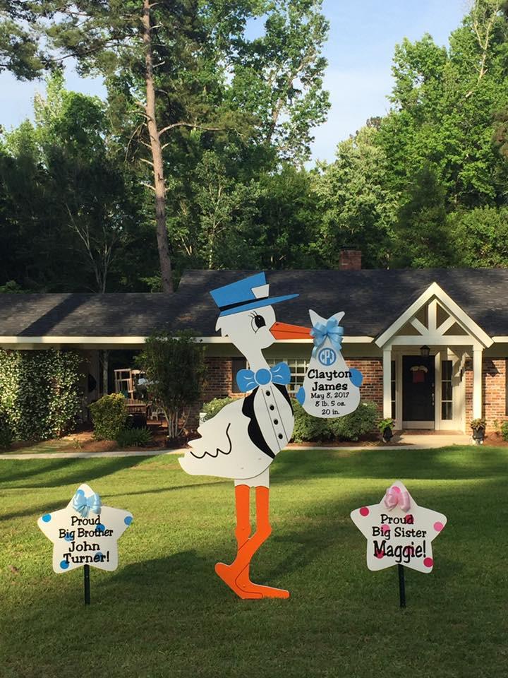 stork sign, birth, yard