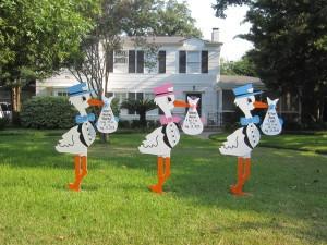 storks, yard