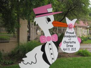 stork sign, yard, grandparents