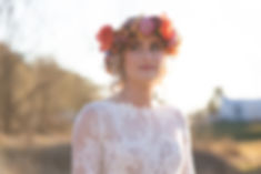 Bohemian flower crown with lace wedding dress