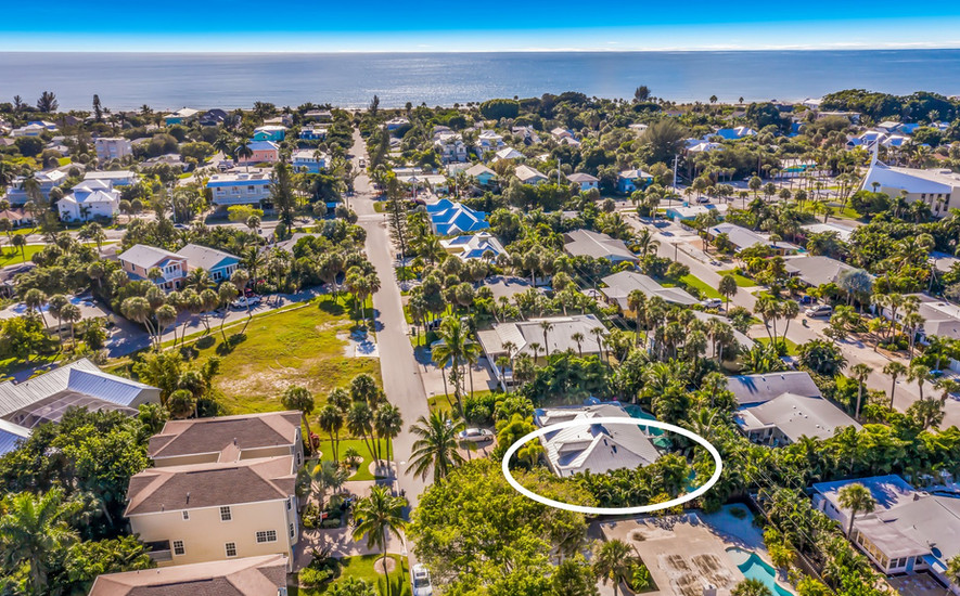 Aerial View Street to Beach