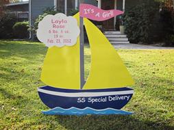 boat sign, baby, yard