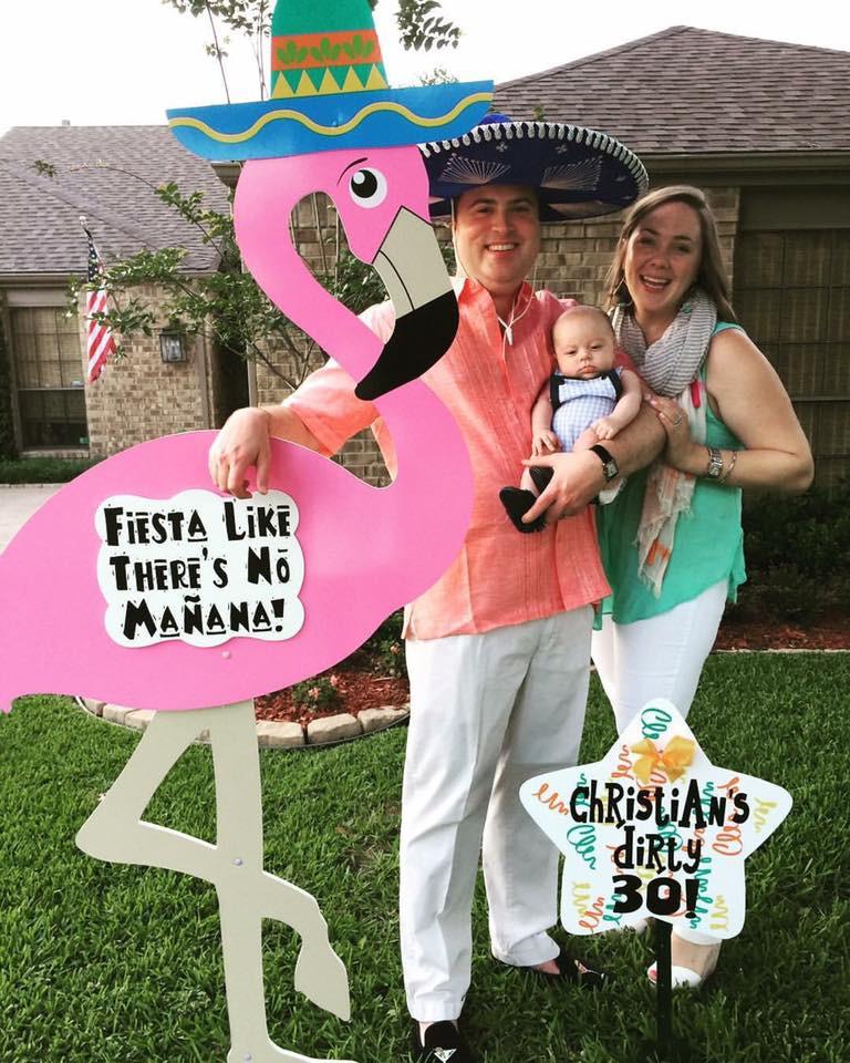 flamingo sign, birthday, celebration, family