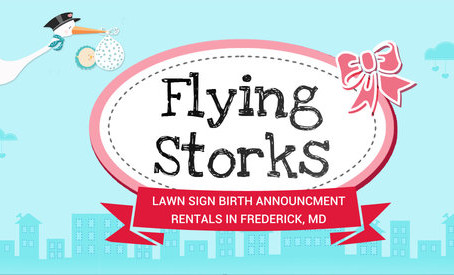 Frederick, MD Stork Sign Rentals ~ Flying Storks Lawn Signs Adamstown, MD ~ Germantown, MD