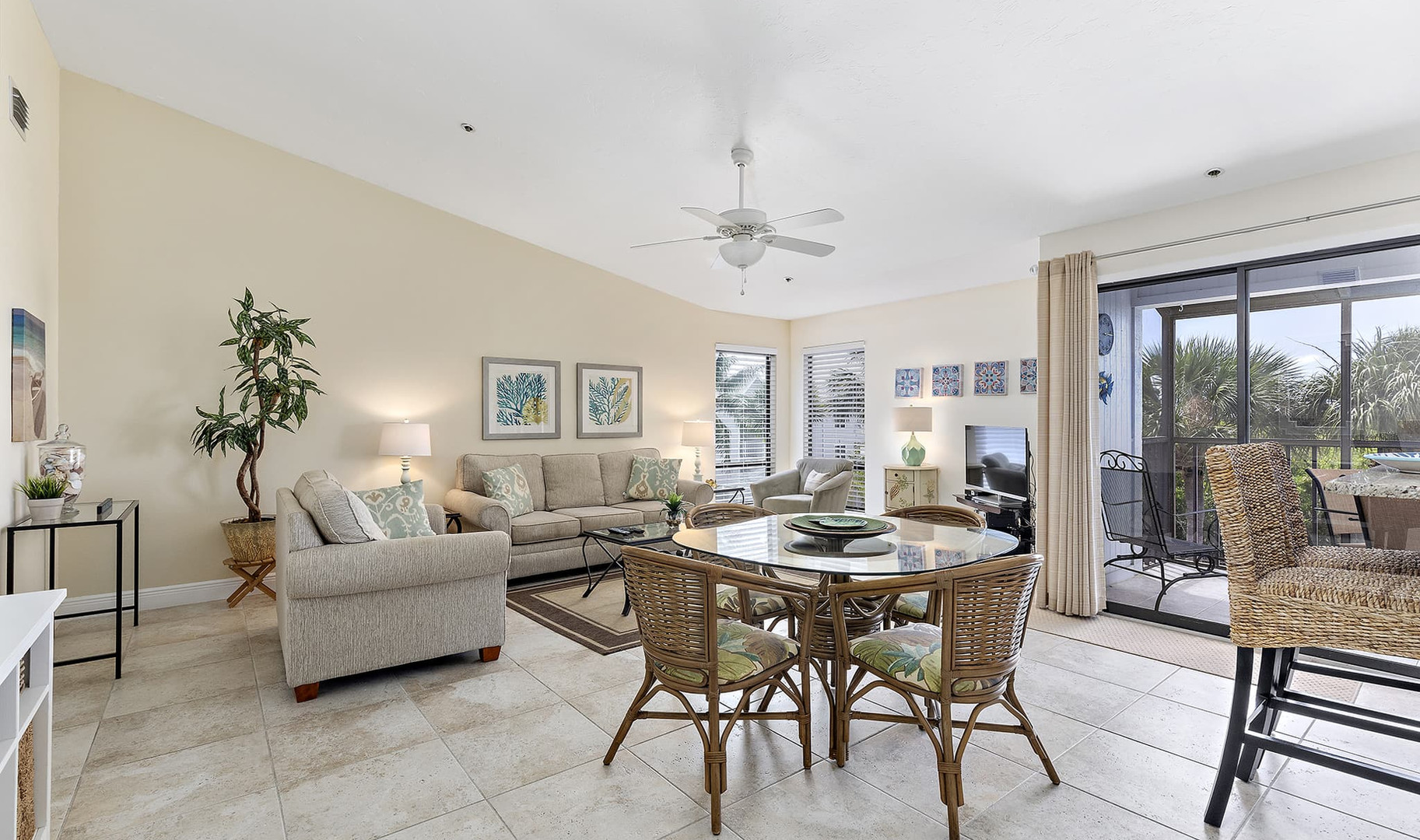 Spacious living and dining area with tab