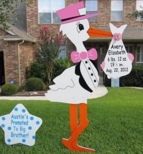 stork, newborn, stork sign, garden
