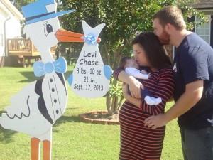family, baby, stork