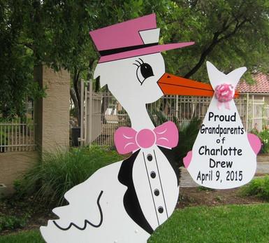 Pink Grandparents Stork