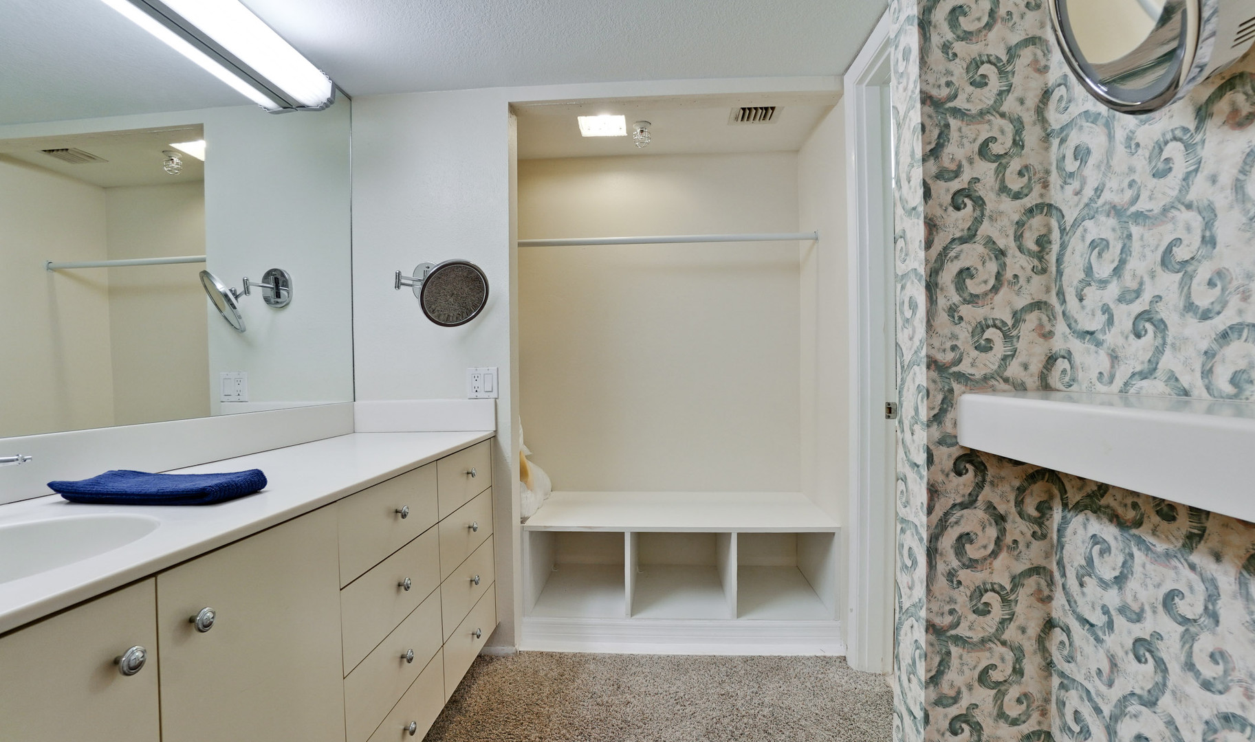 Spacious closet and extra vanity space