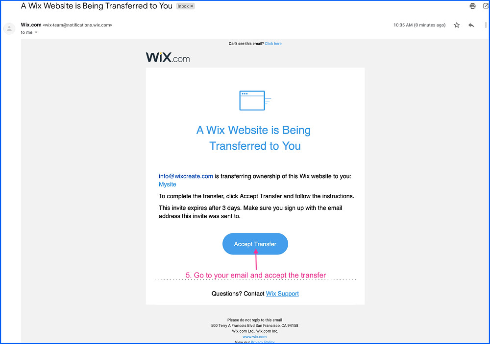 Accept Wix Website Transfer Email