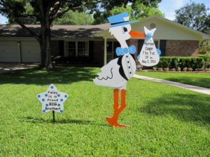 Stork Signs Dalton, GA ~ Sassy Celebrations of Dalton ~ Stork Lawn Sign Rentals ~ Yard Sign Rentals