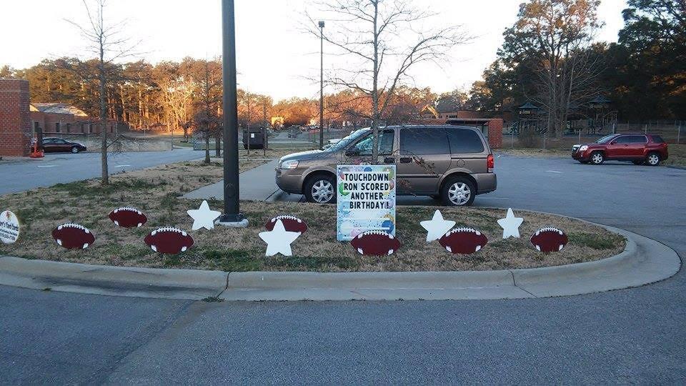 birthday sign, parking spot
