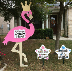 Adoption Celebration Flamingo, Crown, Message Stars