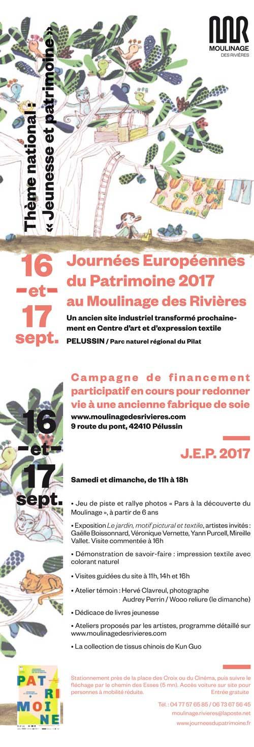 Journées Européennes du Patrimoine 2017 au Moulinage des Rivières