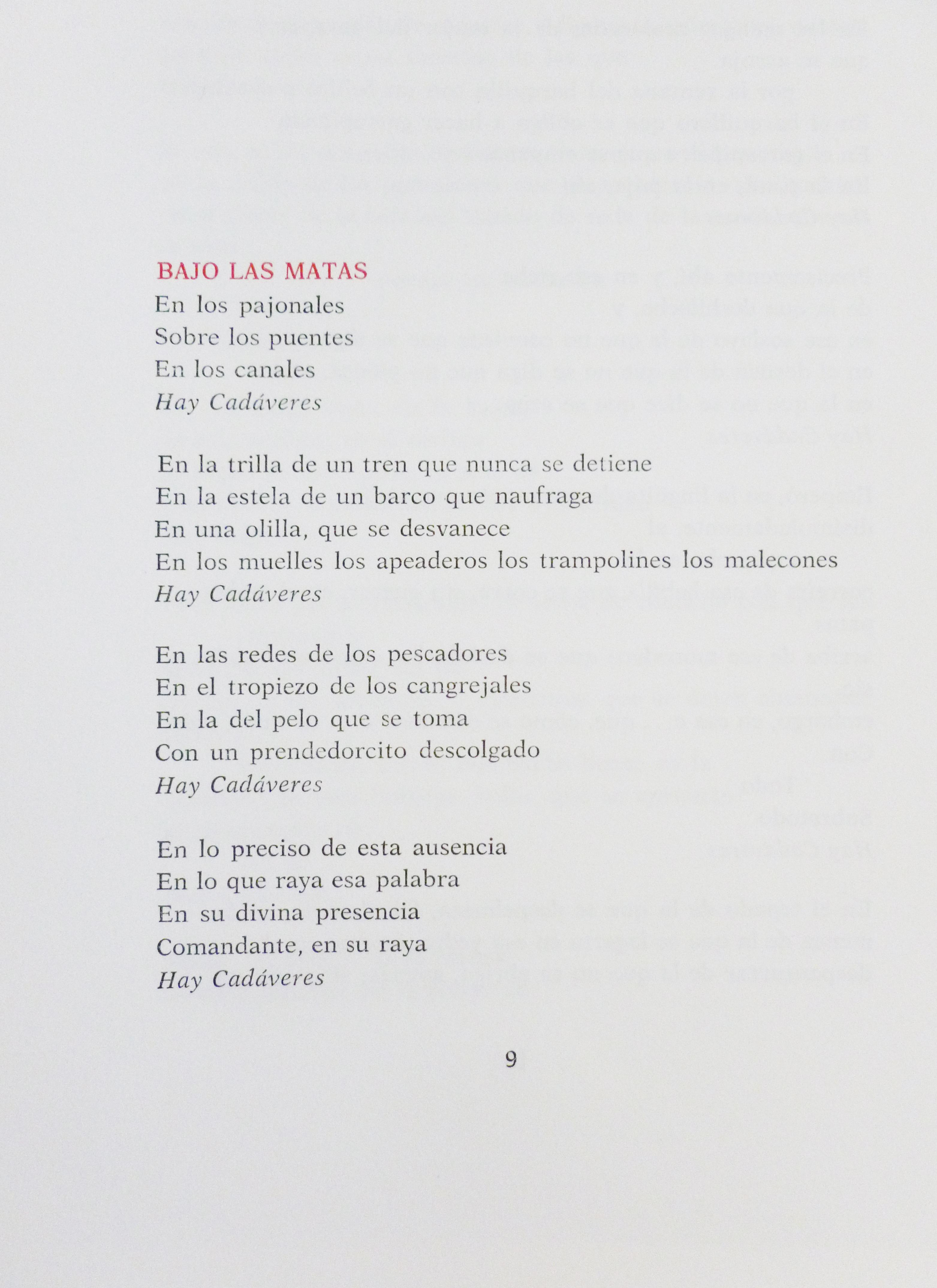 Página con inicio del poema