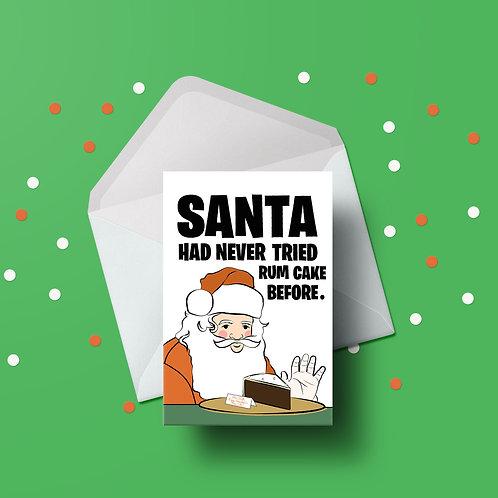 Rum Cake Santa Christmas Card