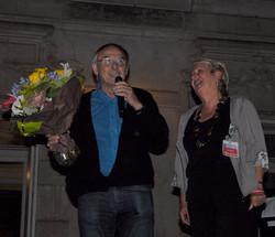 Joel present to retiring faculty