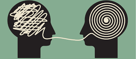 2 cartoon heads facing each other. Thoughts are shown to be scrambled and untangled through talking.