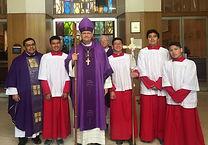 Altar servers, Fr. Robert and Bishop Wei