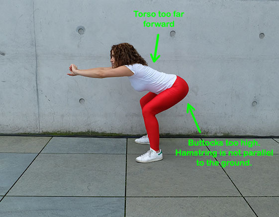 Buttocks too high.