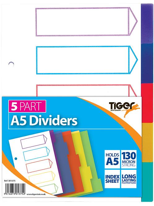 Tiger A5 5 Part Dividers