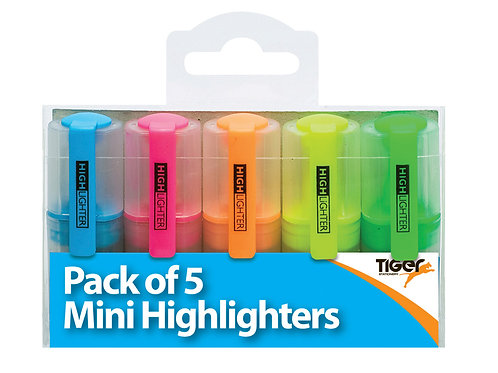 Tiger Pack of 5 Mini Highlighters