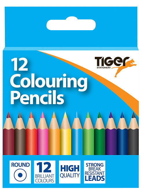 Tiger 12 Colouring Pencils half size