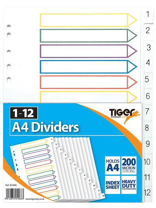 Tiger A4 12 Part Dividers