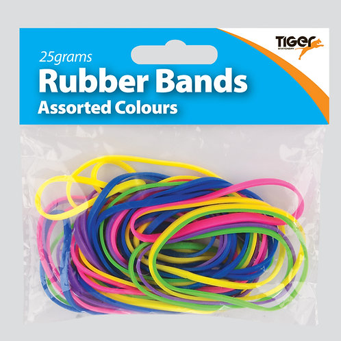 Tiger Assorted Coloured Rubber Bands