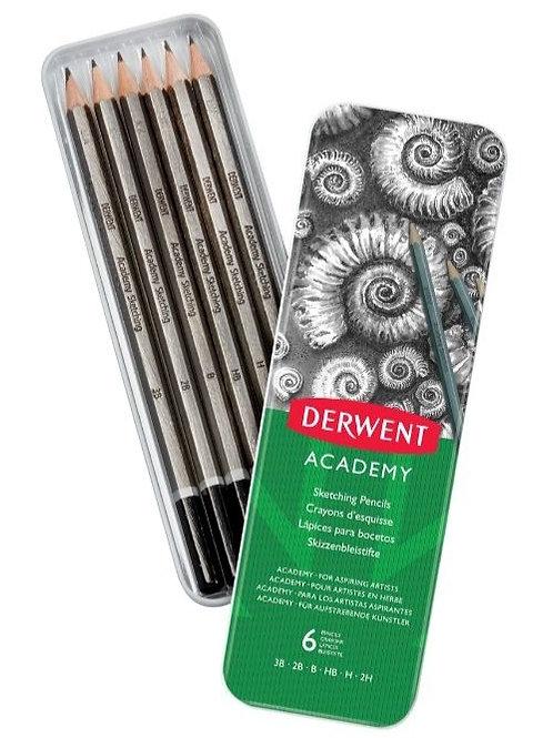 Derwent Academy Sketching Pencils Tin of 6