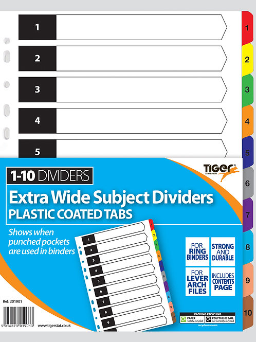 Tiger A4 10 Part Dividers Extra Wide