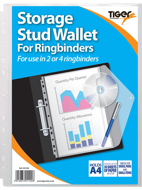 Tiger A4 Storage Stuf Wallet - DocumentWallet for Ringbinder