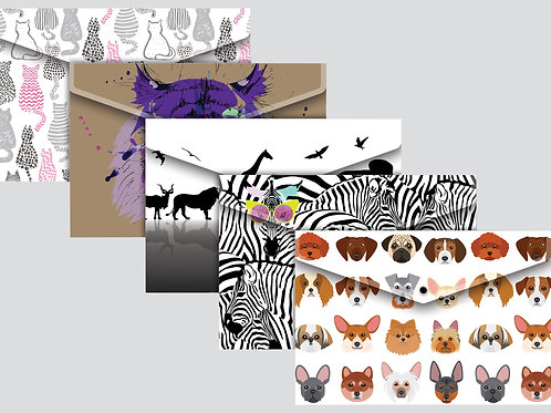 Tiger A4 set of 5 Document Wallets Animals