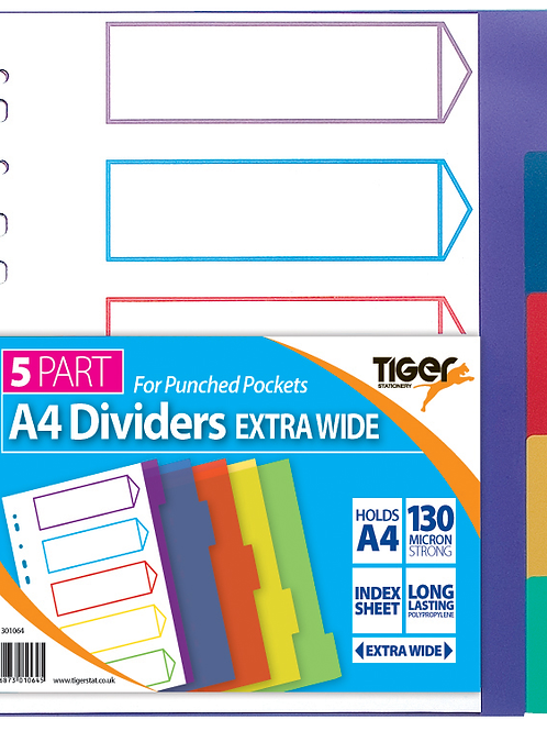 Tiger A4 5 Part Dividers Extra Wide
