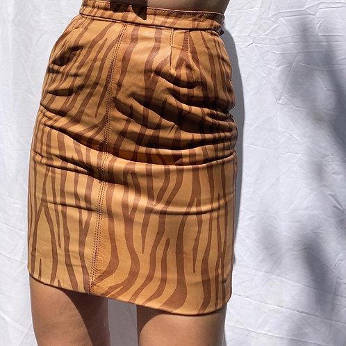 🐅 Vintage High Waisted Tan Tiger Print Mini Skirt Sz XXS/XS 🐅