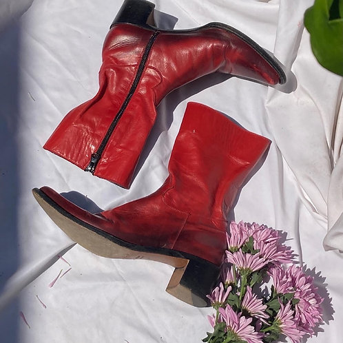 🌶 Vintage Bright Red Leather Boots Sz 36 by Rocco P for Barney's New York 🌶