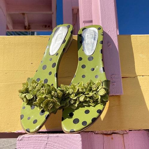 🍏 90's Light Green Polka Dot & Flower Slide Sandals Sz 8.5 🍏