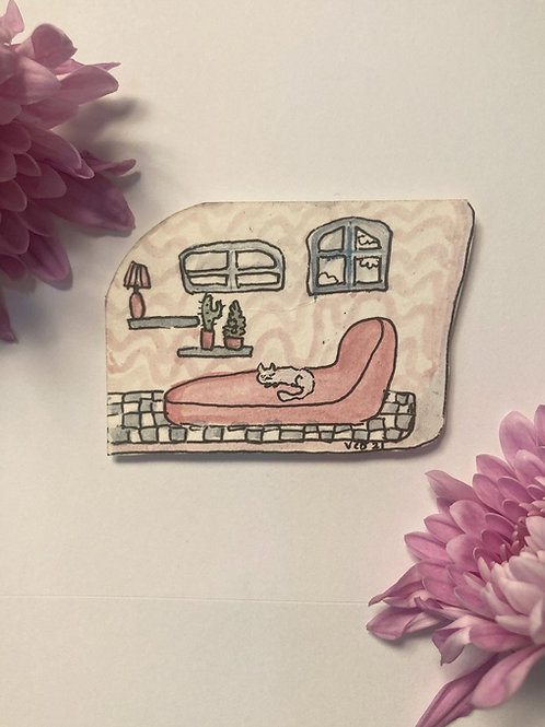 ☁️ Tiny white cat on pink modern couch 🌷