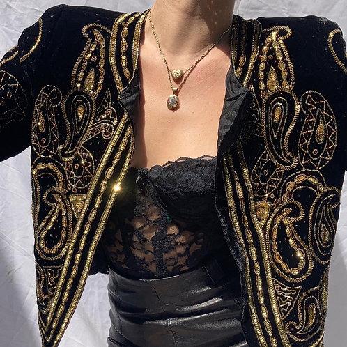 ⭐️ Vintage Shimmery Golden Sequin & Black Velvet Jacket Sz M ⭐️