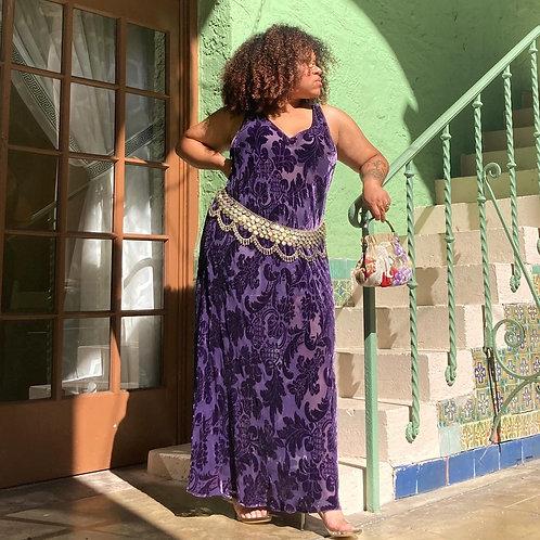 🌿 Stunning Purple Burnout Velvet Dress Plus Sz 26/28 🌿