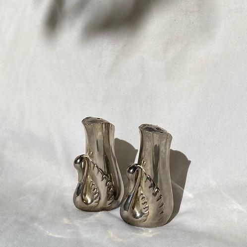 🦢 Vintage Silver Art Deco Swan Salt & Pepper Shakers 🦢